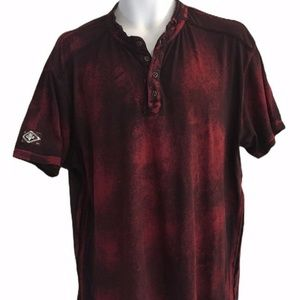 Affliction Live Fast Mens Shirt XL Maroon Tie Dye